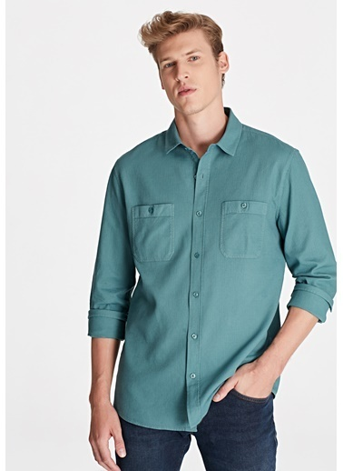 Mavi Çift Cepli Gömlek Yeşil